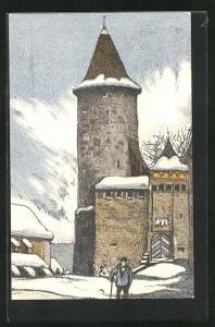 Künstler-AK Romont, Ortspartie im Winter