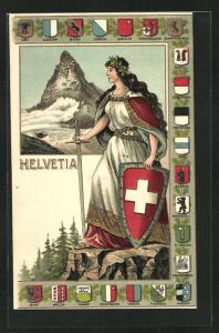 Lithographie Schweiz, Helvetia mit Wappen