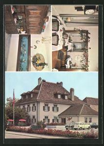 AK Kriegstetten, Ortspartie mit Landgasthof Kreuz, Speisezimmer, Aufenthaltsraum mit Aquarium