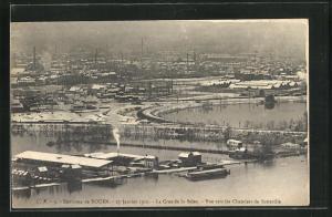 AK Rouen, La Crue de la Seine 1910, Vue vers les Chantiers de Sotteville, Hochwasser