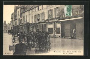AK Nemours, Crue du 20 Janvier 1910, Rue du Chateau