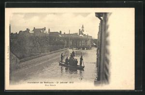 AK Nemours, Crue du 20 Janvier 1910, Rue Benoit