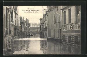 AK Nemours, Crue du 20 Janvier 1910, Rue de l`Hotel de Ville