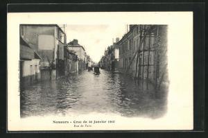 AK Nemours, Crue du 20 Janvier 1910, Rue de Paris