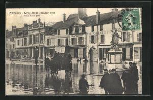 AK Nemours, Crue du 20 Janvier 1910, Place Saint-Jean