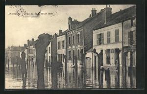 AK Nemours, Crue du 20 Janvier 1910, Avenue Gambetta