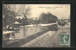 AK Nemours, Inondation / Hochwasser 1910, L`Ecluse des Buttes