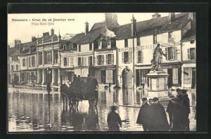 AK Nemours, Inondation / Hochwasser 1910, Place Saint-Jean