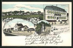 AK Höchst a. d. Nidder, Blick auf Bahnhof, Kriegerdenkmal, Schloss und Ort