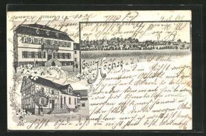 Lithographie Höchst a. d. Nidder, Gasthaus zur Krone, Schloss und Blick zum Ort