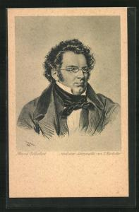 Künstler-AK Portrait des Komponisten Franz Peter Schubert