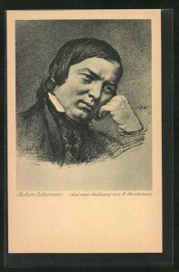 Künstler-AK Portrait des Komponisten Robert Schumann