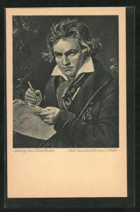 Künstler-AK Portrait des Komponisten Ludwig van Beethoven