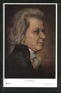 Künstler-AK W. A. Mozart in fortgeschrittenem Alter
