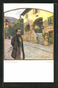 Künstler-AK Komponist Schubert bei einem Spaziergang