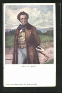 Künstler-AK Komponist Franz Schubert bei einem Spaziergang