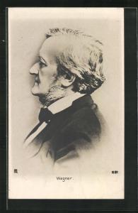 AK Richard Wagner in Anzug im Profil, Komponist