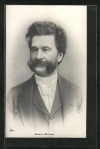 AK Johann Strauss in Dreiteiler mit Krawatte, Komponist