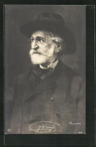 AK Giuseppe Verdi in späten Jahren mit Hut und Mantel, Komponist