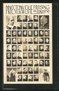 AK Freising, Priesterweihe 25. Juni 1939, Th. Dankerl, J. Gammel & G. Fischer