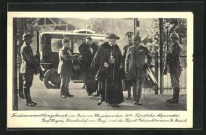 AK Friedensvermittlungsbesuch im Grossen Hauptquartier 1917, Päpstlicher Gesandter Graf Hugins, Fürstbischof von Prag