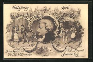 AK Salzburg, Gedenkfeier an die 150. Wiederkehr von W. A. Mozarts Geburtstag 1906