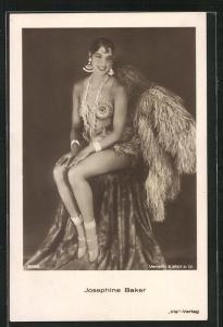 AK Schauspielerin und Tänzerin Josephine Baker im sexy Bühnendress