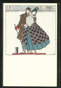 Künstler-AK Wiener Werkstätte Nr. 819, Fritzi Löw: Verliebtes Paar beim abendlichen Winterspaziergang