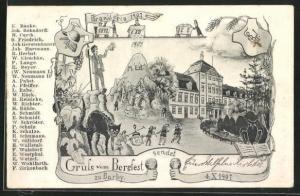 Künstler-AK Barby, Feuerwehr-Schule, Bergfest-Karte, Branderia 1907