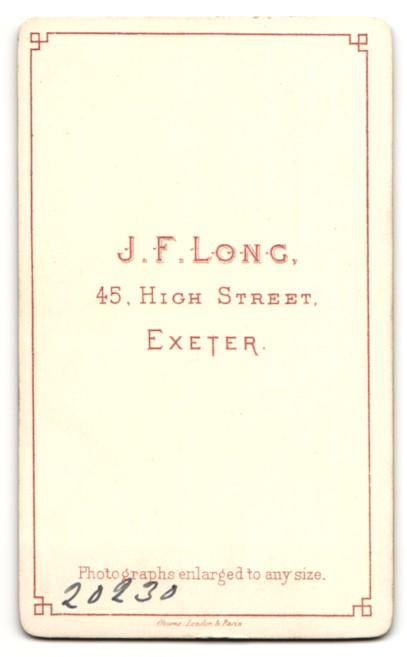 Fotografie J. F. Long, Exeter, Frau im Kleid mit Halsband und Brosche daran und Dutt 1