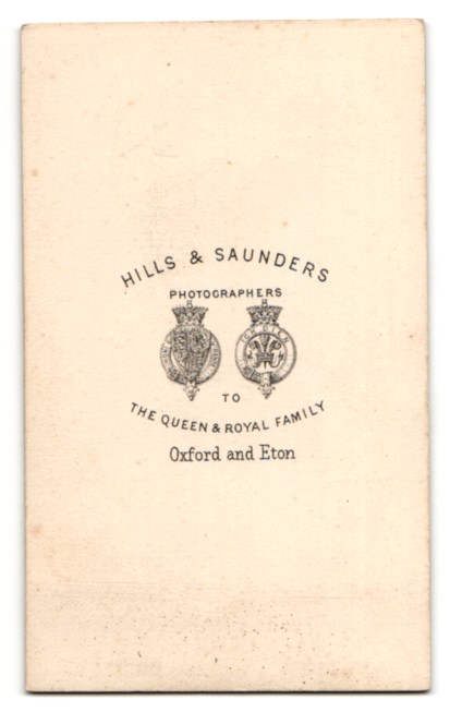 Fotografie Hills & Saunders, Oxford, Portrait lesende Dame in gestreifter Bluse 1