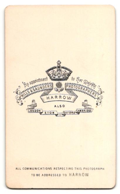 Fotografie Hills & Saunders, Harrow, Portrait blonder Knabe im anug 1