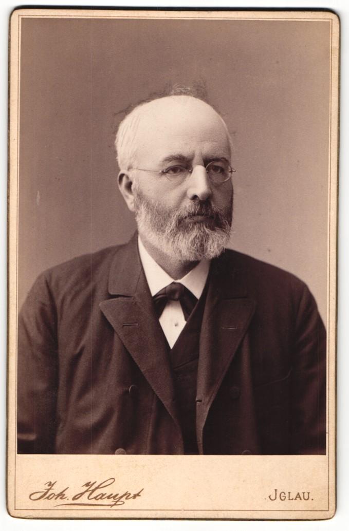 Fotografie Joh. Haupt, Iglau, Portrait bürgerlicher Herr im Anzug mit Brille und Vollbart 0