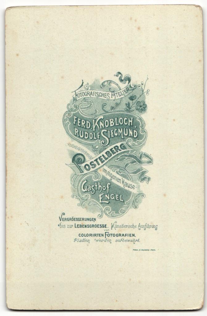Fotografie Knobloch & Siegmund, Postelberg, Portrait bürgerliche Eheleute 1