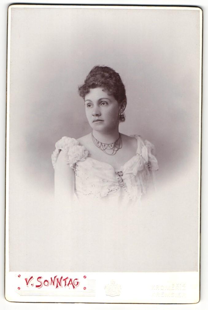 Fotografie W. Sonntag, Kremsier, Portrait Dame in eleganter Garderobe mit Halskette 0