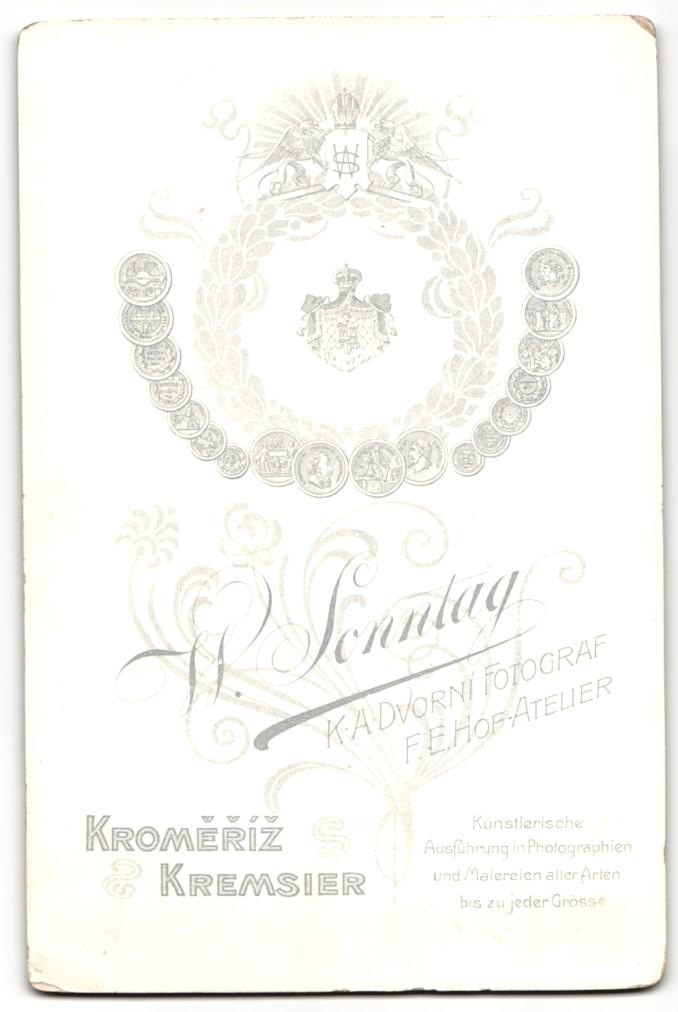Fotografie W. Sonntag, Kremsier, Portrait Dame in eleganter Garderobe mit Halskette 1
