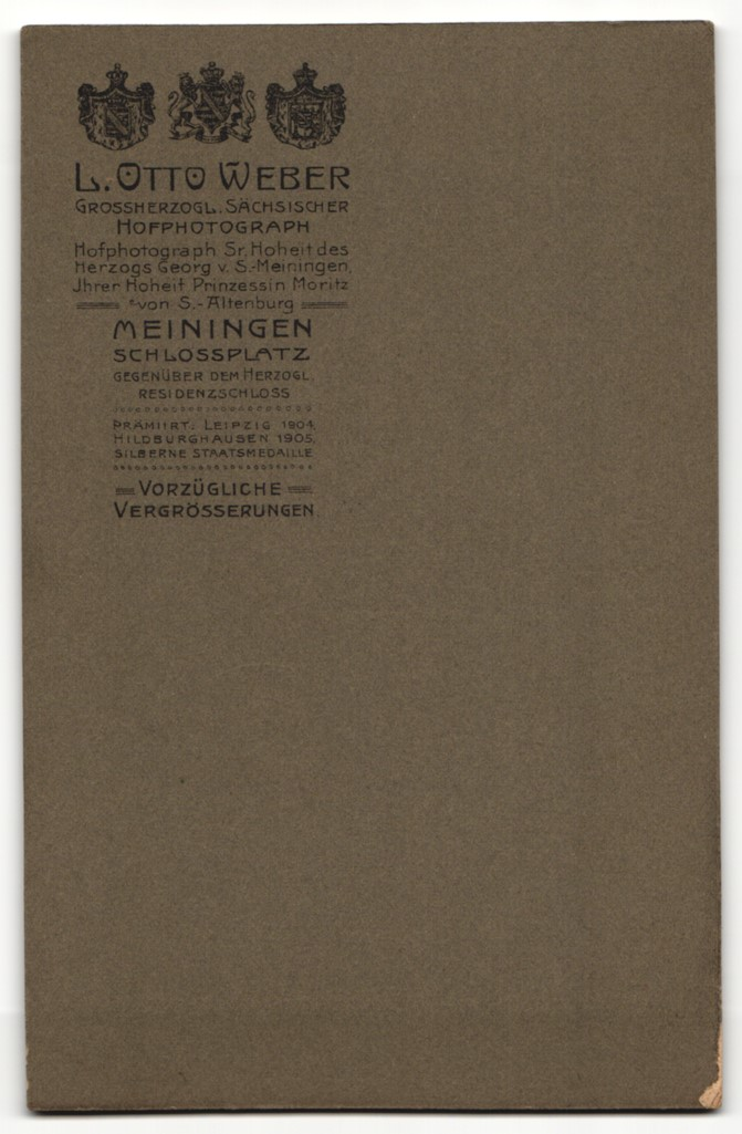 Fotografie L. Otto Weber, Meiningen, Portrait junge Mutter mit zwei Kindern 1