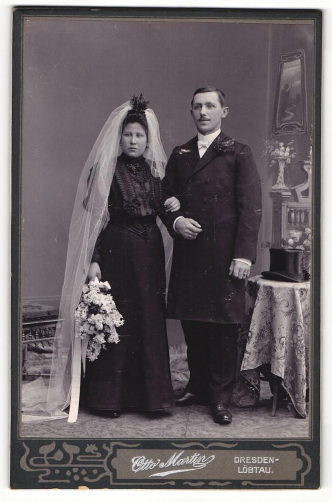 Fotografie Otto Martin, Dresden-Löbtau, Portrait Braut und Bräutigam, Hochzeit 0