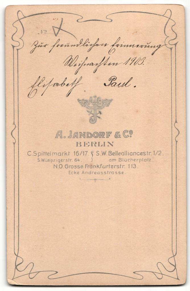 Fotografie A. Jandorf & Co., Berlin, Portrait Mädchen und jüngerer Bruder 1