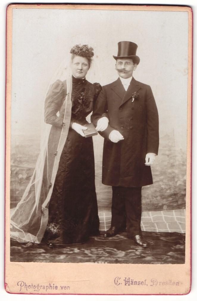 Fotografie C. Hänsel, Dresden, Portrait Braut und Bräutigam, Hochzeit 0