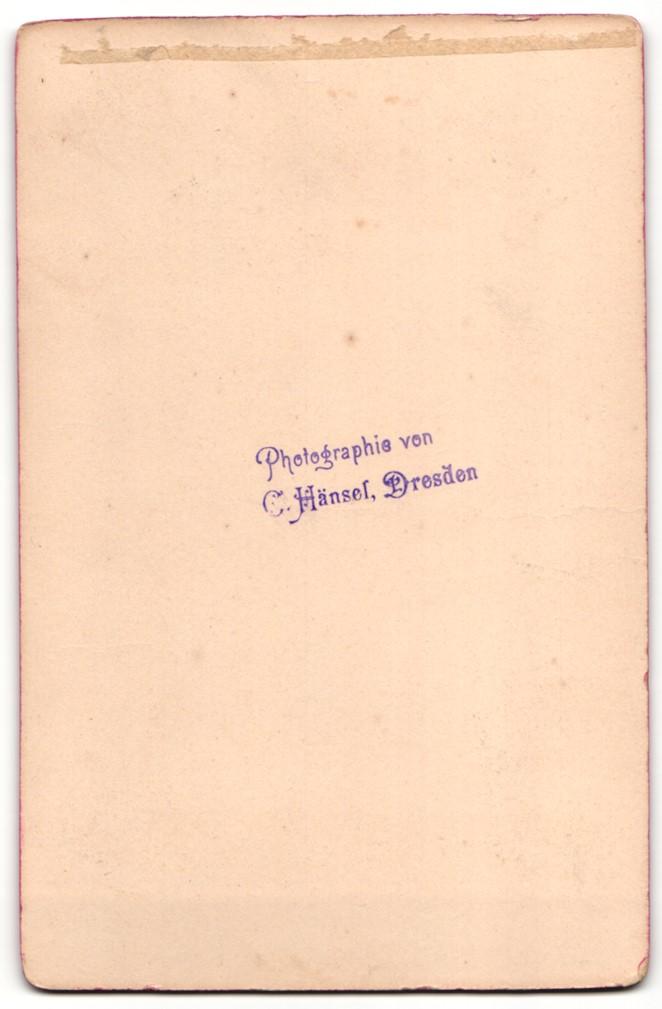 Fotografie C. Hänsel, Dresden, Portrait Braut und Bräutigam, Hochzeit 1