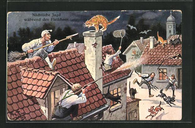 Künstler-AK Arthur Thiele: Nächtliche Jagd auf Dachhasen während der Fleischnot 0