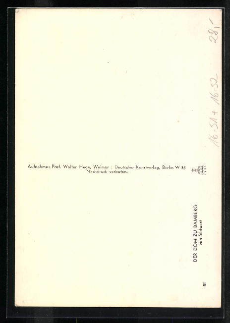 Foto-AK Deutscher Kunstverlag, Nr. 51, Walter Hege: Bamberg, Dom von Südwesten gesehen 1