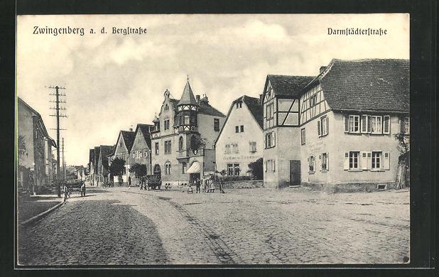 AK Zwingenberg an der Bergstrasse, Darmstädterstrasse mit Gasthaus zur Bergstrasse 0