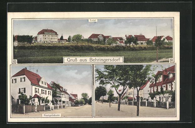 AK Behringersdorf, Totale, Postgebäude und Ortspartie 0