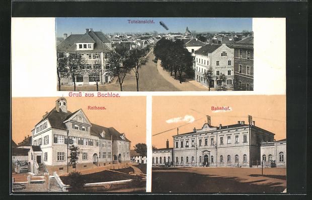 AK Buchloe, Totale, Rathaus, Bahnhof 0