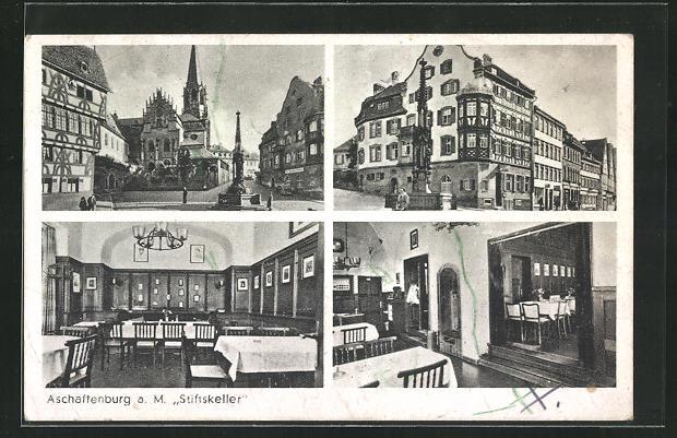AK Aschaffenburg a. M., Gasthaus Stiftskeller, vier Motive 0