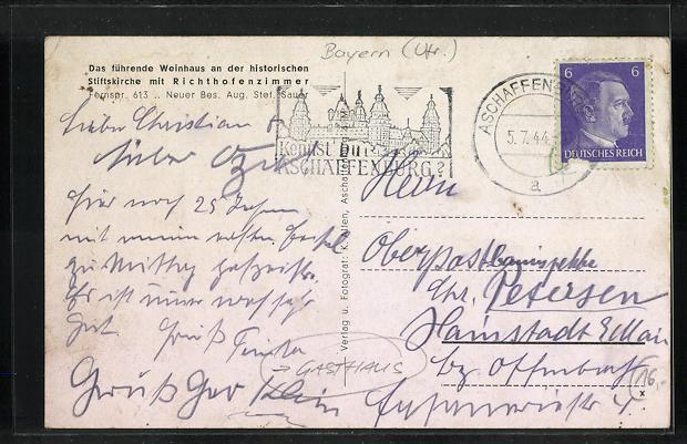 AK Aschaffenburg a. M., Gasthaus Stiftskeller, vier Motive 1