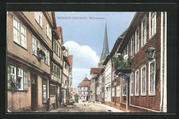 AK Hessisch-Lichtenau, Blick in die Mittelstrasse 0