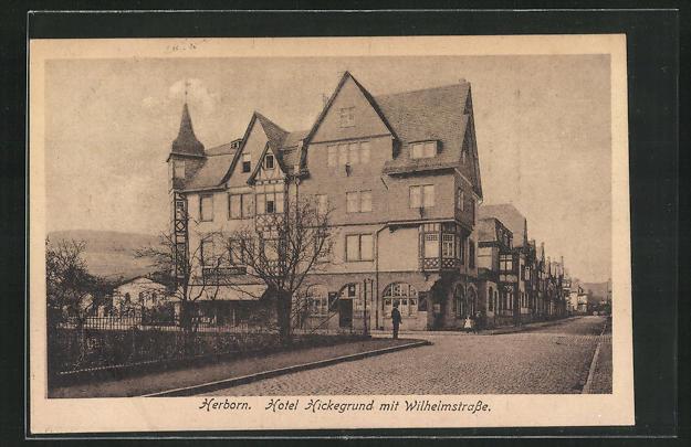 AK Herborn, Hotel Hickegrund mit Wilhelmstrasse 0
